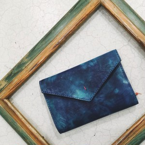 Letter - Leather Notebook cover-M / Blue (Hand dyeing)