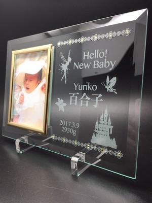 出産祝い ガラスフォトフレーム 妖精verスワロ付