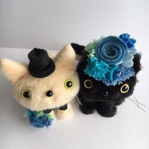 ウェルカムキャット♡ブルーローズ 猫ぬいぐるみ