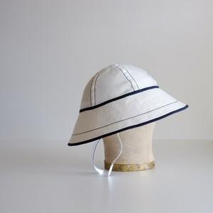 セーラーハット 【 白 リネン に 紺 ステッチ 】 高原 / sailor hat linen【white & navy blue 】Plateau
