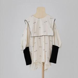 folk made embroidery rogo sailor  Mサイズ (pale beige×black)  F21AW-015