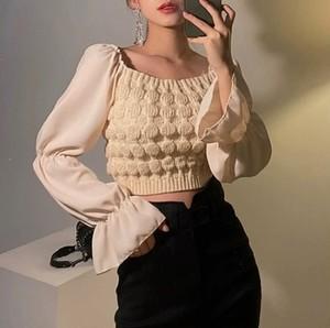 design short knit tops 2color