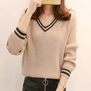 【トップス】無地合わせやすいVネックプルオーバー配色ファッションニットセーター27324698