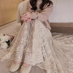 lace long skirt 2color