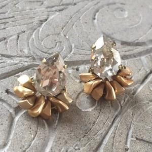 【R2033】スワロフスキーxさざれ石ピアス(イヤリング)pierce earring