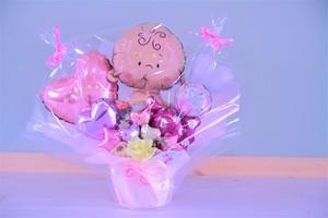 出産のお祝いに卓上バルーンギフトウェルカムベビーガールA(バルーンアレンジ) 送料込み  引き取りの場合5,000円