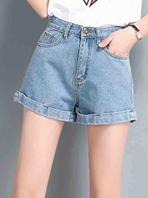 【bottoms】Fashion denim high waist shorts