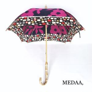 着物地の日傘 四角 紺 花柄 モザイク柄