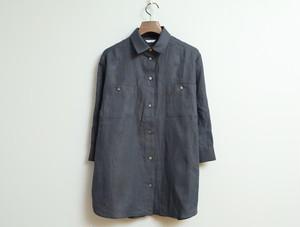 リネンシャンブレーの七分袖チュニックシャツ