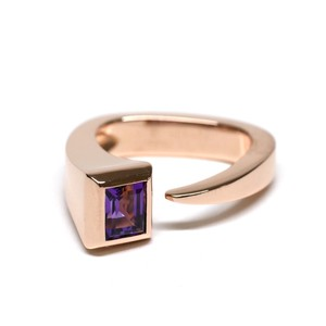 Hermès Vintage 18k Rose Gold & Purple Amethyst Ring