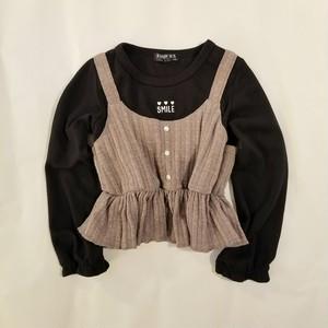 【重ね着風Tシャツ】縄編み ニットキャミソール 重ね着風 Tシャツ 40403【モカ】