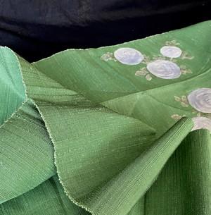 〈黄緑色の八寸名古屋帯〉 松葉仕立て 名古屋帯 織り出し 手織り紬 饅頭菊