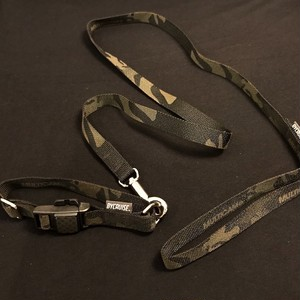 "BYCRUISE MAGNETIC COLLER & LEAD SET MULTICAM®︎ BLACK CAMOUFLAGE 5/8""INCH WEBBING."
