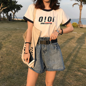 【トップス】韓国ファッションルーズアルファベット短袖Tシャツ