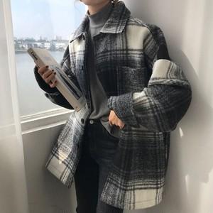 【アウター】定番チェク柄ゆったり折り襟着やせコート