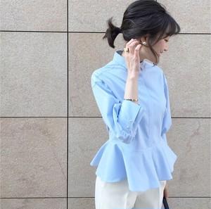 <予約販売>KU-UM×maki ペプラムシャツ サックス