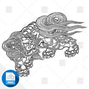 【png画像素材】唐獅子5 Sサイズ  横500px × 縦378px