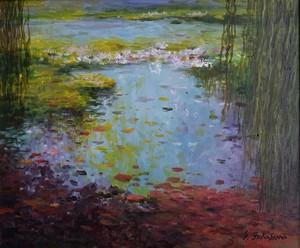 最終値下げ! 深沢昭明 「モネの池」 油彩画 F8号