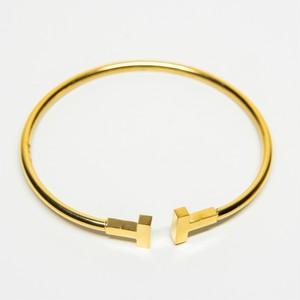 18kgp T Letter Opened Bangle 【GOLD】