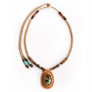 original.no.183 necklace / tan turquoise