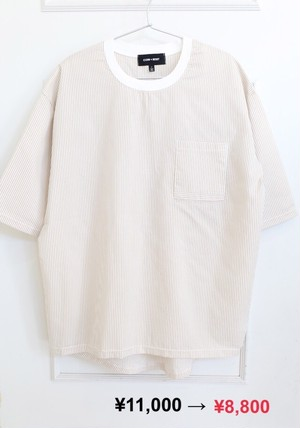 【MEN】White×Beige Stripe Tee