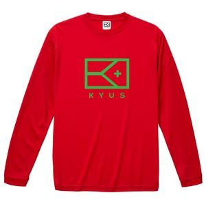 BIG KYUSフラッグロゴ ドライシルキーロングスリーブTシャツ[レッド]
