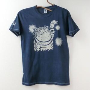 藍染めTシャツ どや猫
