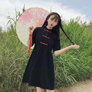 【ワンピース】中国風レトロルーズ少女カジュアルワンピース