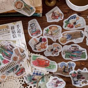 フレークシール レトロ 全8種 コーヒー 珈琲 パン ステッカー コラージュ素材 スクラップブッキング ほぼ日手帳 海外 G07