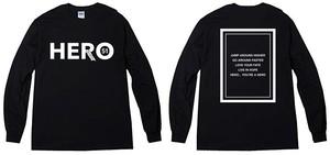 HEROロングTシャツ(B/W))