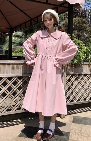 【dress】スウィート無地Aラインラウンドカラープルオーバーシャツワンピース14365194