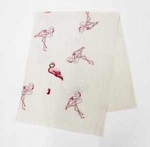 フラミンゴ刺繍ストール