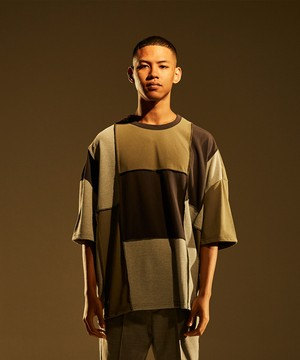 Patchwork Wide Silhouette Tee -crazy <LSD-BJ1T7>