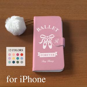 """【12色】❤︎イニシャル入り❤︎ iPhoneスマホケース手帳型 トゥシューズ """"BALLET FOREVER"""" バレエ"""