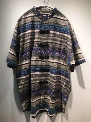 ブルー系の地層みたいな古着リメイクチャイナシャツ