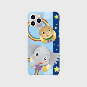 ☆ゾウ君&ネコ君 仲良しスマホケース Blue  (iPhone11 Pro)