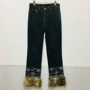 fur × beads lace denim pants