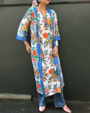 70s white floral dress ( ヴィンテージ  ホワイト 花柄 ワンピース )