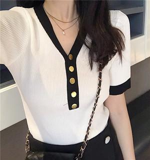 【トップス】初秋新作入荷配色Vネック合わせやすいニットTシャツ