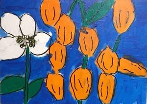 【絵画】鬼灯と花(ほおずきがたわわになっています)