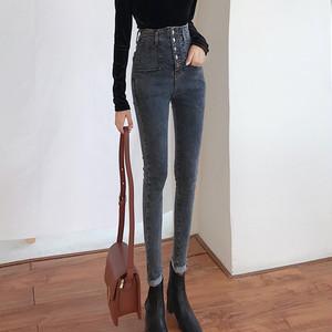 【ボトムス】韓国ファッション 通販デニム無地スキニーパンツ21826227
