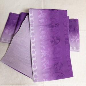 【アウトレット新品】リバーシブル半幅帯 唐花柄 紫~藤色グラデ