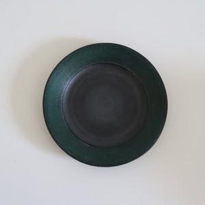 沖 誠緑5寸リム皿(黒)