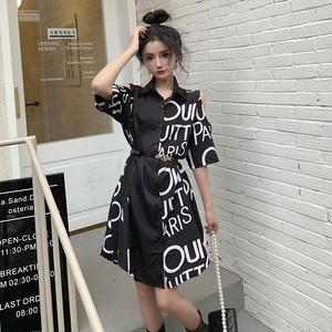 【ワンピース】韓国系半袖シングルブレストPOLOネックAラインワンピース49938889