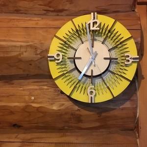 「歯車」アクリル×木製掛け時計