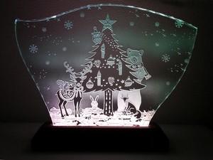 森のクリスマスのガラスエッチングパネル Lサイズ・LEDスタンドセット