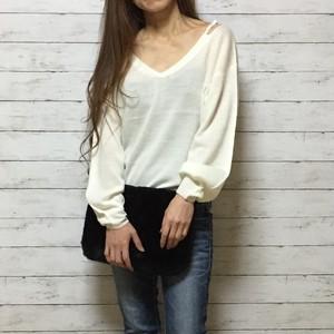 open shoulder ニット セーター(white)