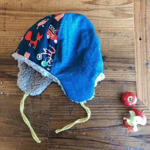 【オーダーのお品】あったか冬帽子(大サイズ・54くらい)ネイビー