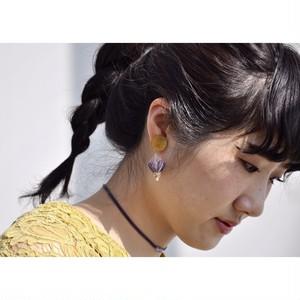 tiravisù【 yellow _ pu-velvet _ earring 】vintage handmade イヤリング japan