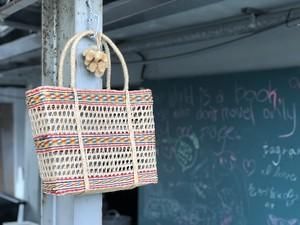 透かし編みの台湾かごバッグ